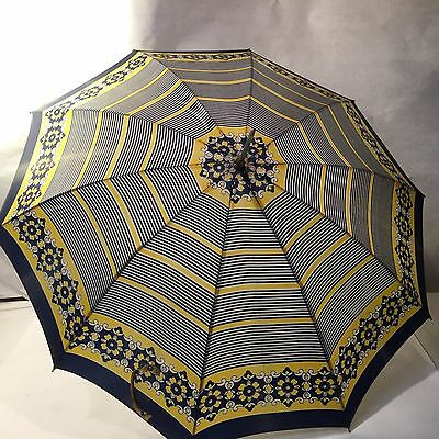 Vtg MCM Umbrella Parasol 100% Nylon Blue Yelloe Striped Flowers Floral Taiwan