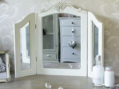 Cream Wooden Dressing Table Triple Mirror Shabby French Chic Bedroom Make Up