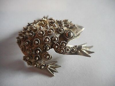 ** Rare Vintage Sterling Silver 925 Frog Toad Brooch Pin Jewelry High Detail **