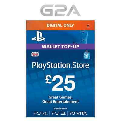 Playstation Network £25 Pounds - 25 GBP Store Card Key / PS4 PS3 PSP PSN – UK