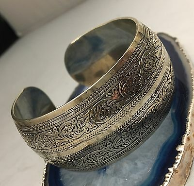 Antique Hand Crafted Chinese Export Silver Wide Cuff Bracelet-Stamped/Signed