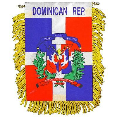 DOMINICAN REP Mini Banner Flag For Car & Home Window Mirror Hanging 2 Sided