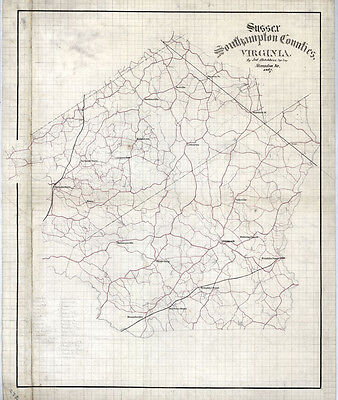 1867 Map of Sussex and Southampton County Virginia
