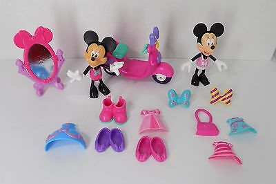 Fisher Price Minnie Mouse bowtique Snap n Style 2 Dolls Scooter Mirror MLC 14pc