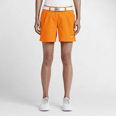 Nike Oxford Women's Golf Shorts Vivid Orange 725763-868 New