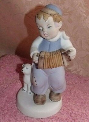 Royal Dux Figurine Boy Playing Arcordian And Dog