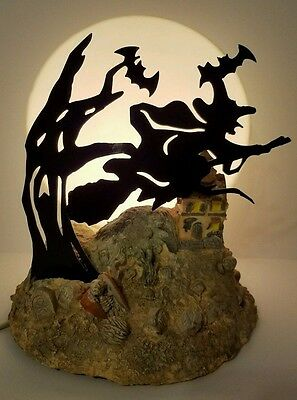 Vintage Halloween Lamp Witch On Broom Lights Up w Moon Skeleton Tombstone Graves