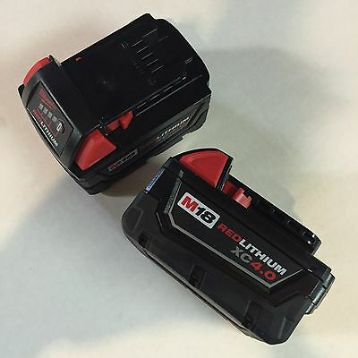 Genuine Milwaukee M18 XC 4 amp 18V Red Lithium Battery 48-11-1840 lot of(2)NEW