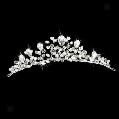 Bridal Flower Rhinestone Crystal Pearl Prom Wedding Tiara Crown Headband