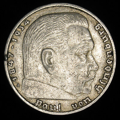 1936A Nazi Germany 5 Reichsmark silver