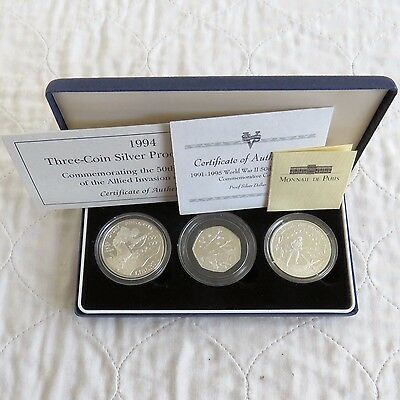 1994 ALLIED INVASION 50th ANNIVERSARY 3 COIN SILVER PROOF SET - boxed/coa