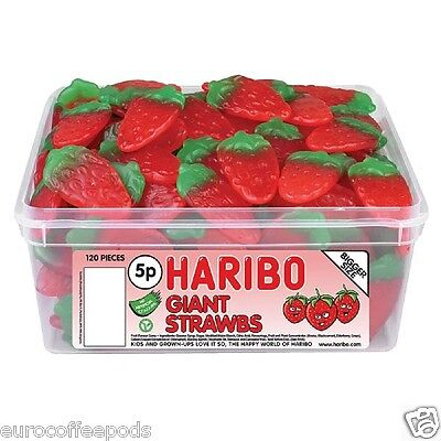Haribo Sweets Tub Giant Strawbs 120 Pieces
