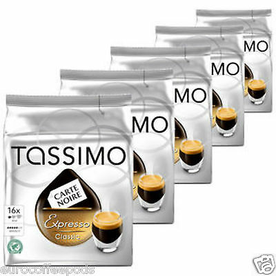 Tassimo Carte Noire Espresso Classic Coffee, 5 Packs 80 t disc / Servings)