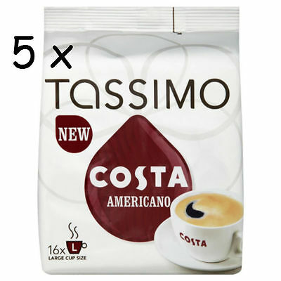 Tassimo Costa Americano Coffee 5 x Packs (80 Servings) 80 T Disc