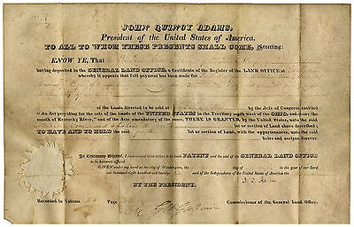 John Quincy Adams Document Signed as President