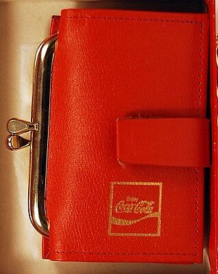 Vintage AMITY Red Coca Cola Coin Purse Key Fob Wallet with Tags and Original Box