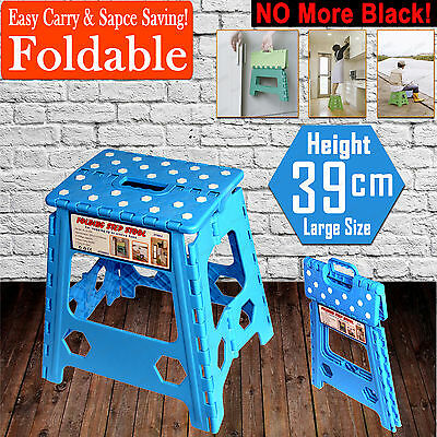39cm Folding Step Stool Kitchen Garage Foldable Carry Storage Fishing Chair BLUE
