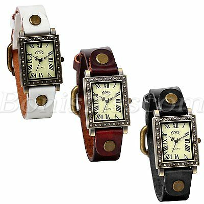 Women's Retro Unique Square Dial Arabic Leather Cuff Strap Quartz Wrist Watch