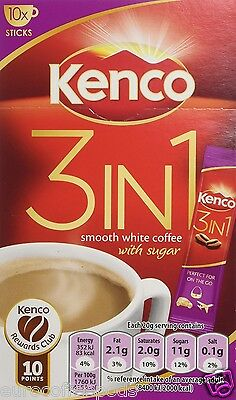 Kenco 3-in-1 Smooth White Coffee With Sugar 10 Sachets 140 g Pack of 4