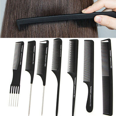 Black Plastic Fine-tooth Pin Comb Hairdressing Hair Style Salon Anti-static Comb
