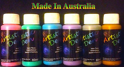 Face Paint Set Metallic 6 x 60ml Kids Face And Body Paint
