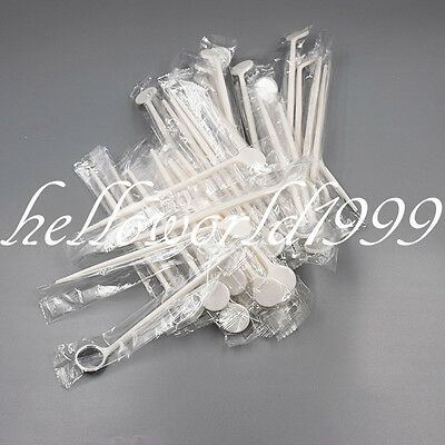 100X Disposable White Anti-fog Plastic Dental Mouth Mirror Reflector Electronics