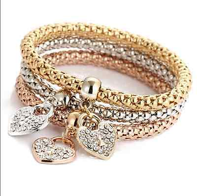 3Pcs Set Gold/Silver/Rose Gold Luxury Rhinestone Bracelets Bangles Women Jewelry