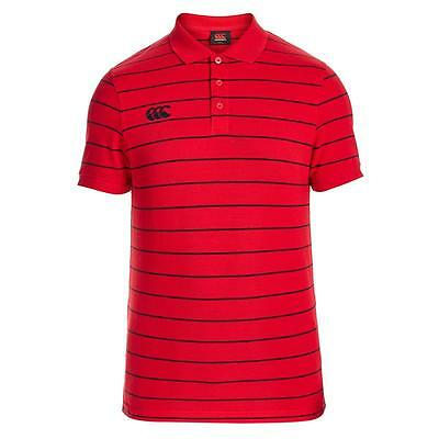 Canterbury Mens Striped Polo Shirt Red/navy  Sizes Xs S M L Xl Rrp £30