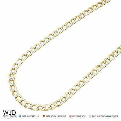 14K Solid Yellow Gold Diamond Cut 5mm Cuban Link Chain Necklace in 20""