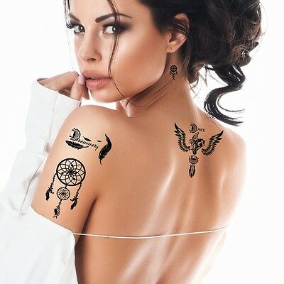 Bling Art Temporary Tattoos Black Dreamcatcher Set of 8 Tattoos for Women UK