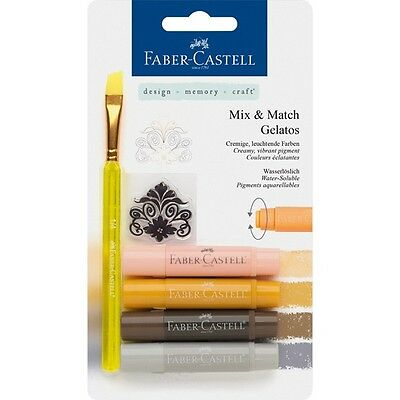 #121805 Faber Castell 6 Pc Neutral Tones Gelatos Watersoluble Crayon Craft Blend