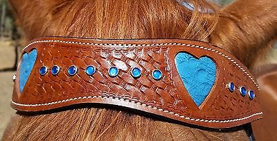 BLUE LEATHER HEART WESTERN BRIDLE AND BREASTPLATE SET - cob