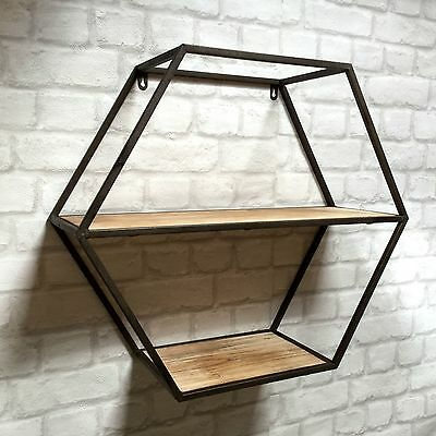 Vintage Industrial Style Metal Wall Shelf Unit Storage Cupboard Cabinet Rack