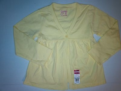 Baby Toddler Girl Solid Yellow Cotton Button V-Neck Cardigan 24 Month NEW