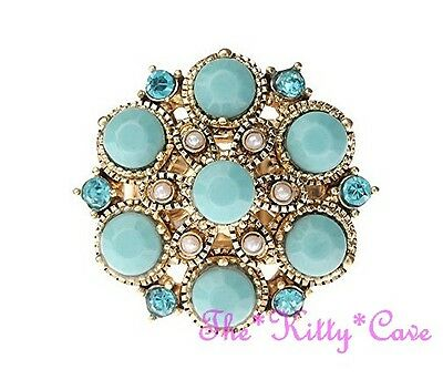 Vintage Chic Baroque Regency Turquoise Faux Pearl & Crystal Gold Statement Ring