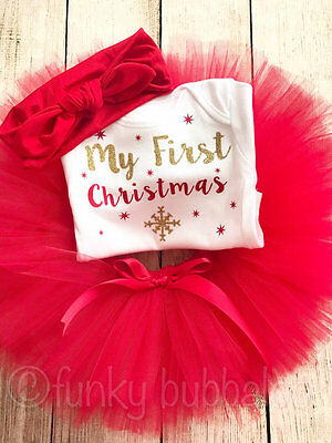 Christmas Tutu Set Baby Girl Red Gold Outfit My First 1st Green Photo Prop