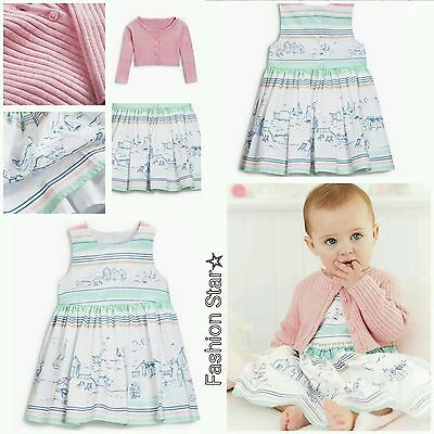New* Bnwt Next Baby Girl 0-1 0-3-6-9-12-18-24 Month Scene Prom Dress & Cardigan