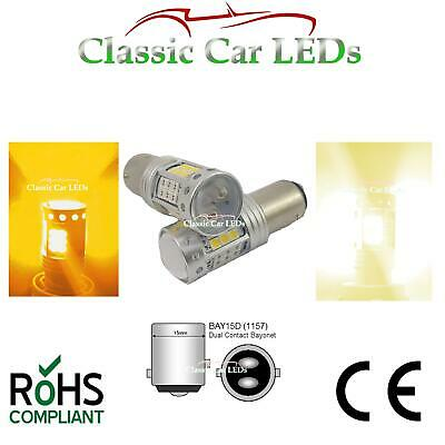 2x BAY15D 1157 WARM WHITE & AMBER SIDELIGHT AND INDICATOR COMBINED LED 380