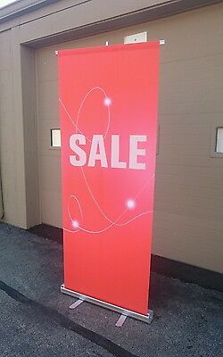 "Retractable Sale Banner Sign Stand 33""x80"" with Carry Bag"