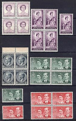 1954 Australia Royal visit blocks all MNH with a 4plate block of KGVI bonus