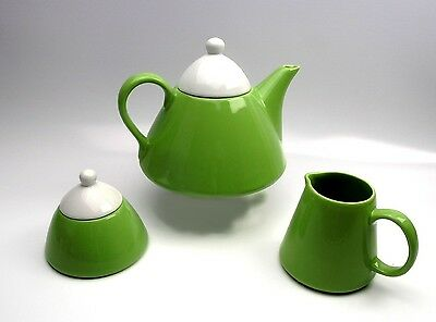 Retro Vintage Conical Teapot Milk Jug and Bowl Tableware Lime Green