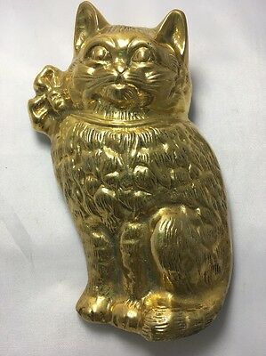 Vintage Solid Brass Kitten Cat Door Knocker