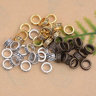 50/100Pcs Retro Style Tibetan Silver Tube Charm Spacer Beads 7.5MM DK81