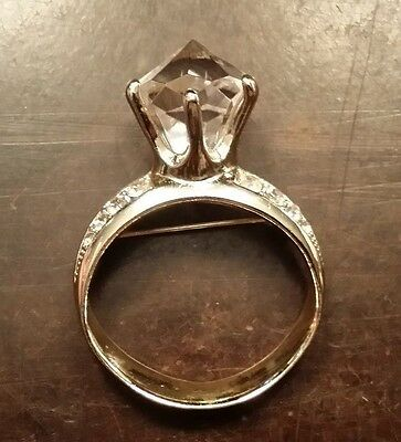 Vintage Ajc Gold Plate Diamond Ring Pin Free Shipping