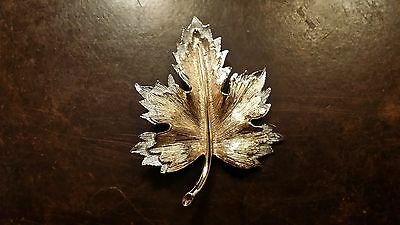 Vintage Sarah Coventry Gold Silver Tone Leaf Pin Free Shipping