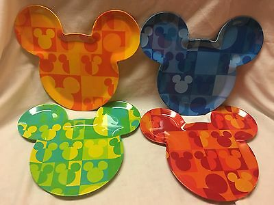 Set Of 4 Disney Store Mickey Mouse Face Head Shaped Plates