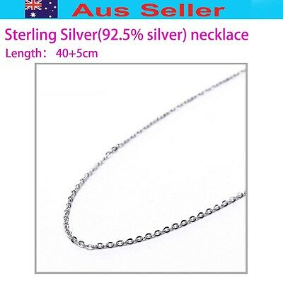 45cm Sterling silver necklace Sliver 925 coated W/Rhodium(White Gold)