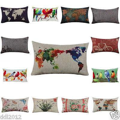 Vintage Linen Square Throw Flax Pillow Case Decorative Cushion Pillow Cover New