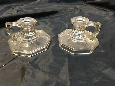 Pair Vintage Candlestick Candle Finger Hole Glass Candle Holder Depression