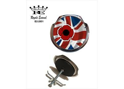 Royale Car Grill Badge & fittings - UNION JACK POPPY RESPECT OUR FALLEN B2.2801